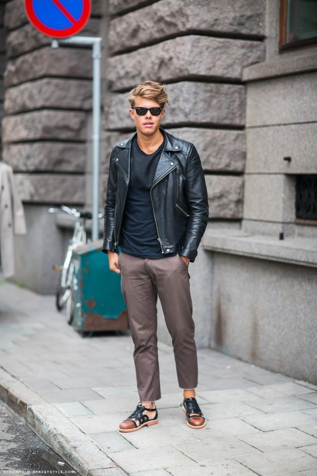 Street style nam: Mix đồ đông phong cách cùng áo da nam 5