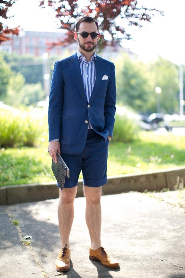 Quý ông sanh chảnh cùng short suit và đôi brogues nâu