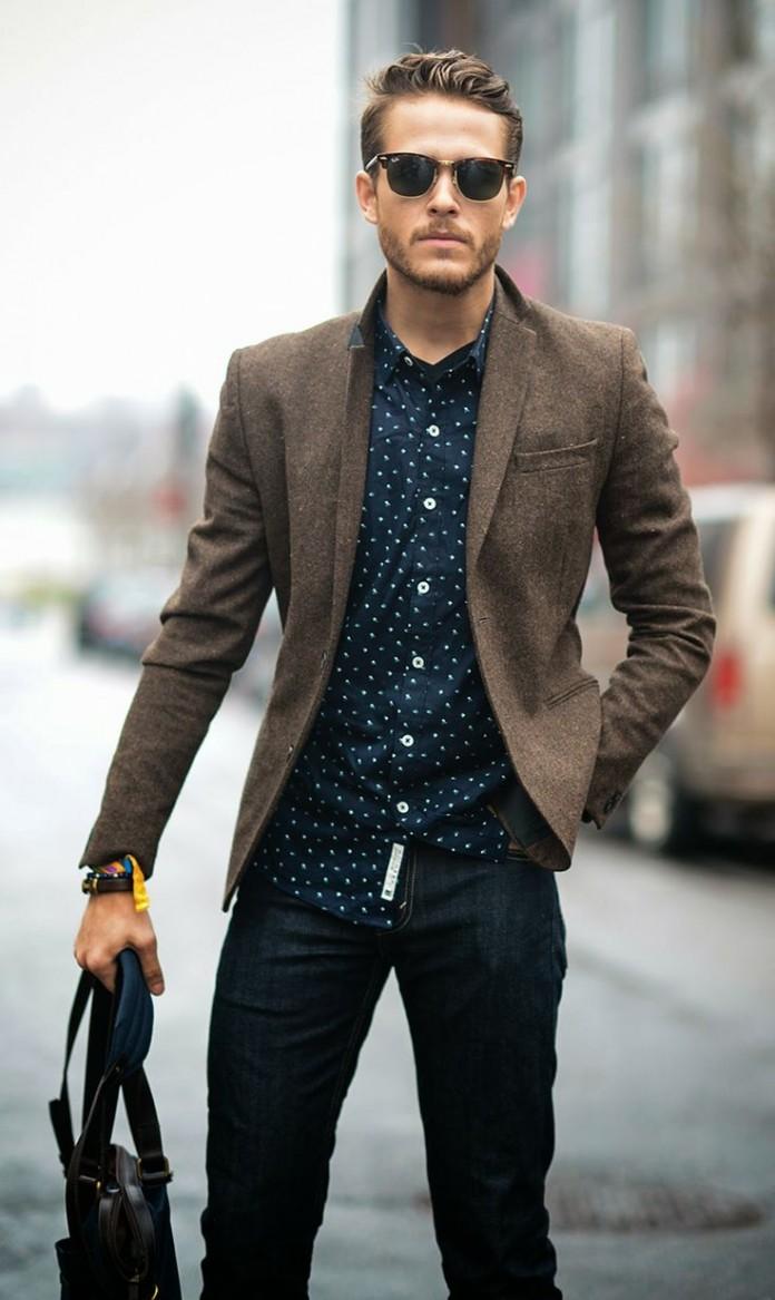 Chàng sành điệu với blazer khoác ngoài sơ mi được kết hợp cùng jeans