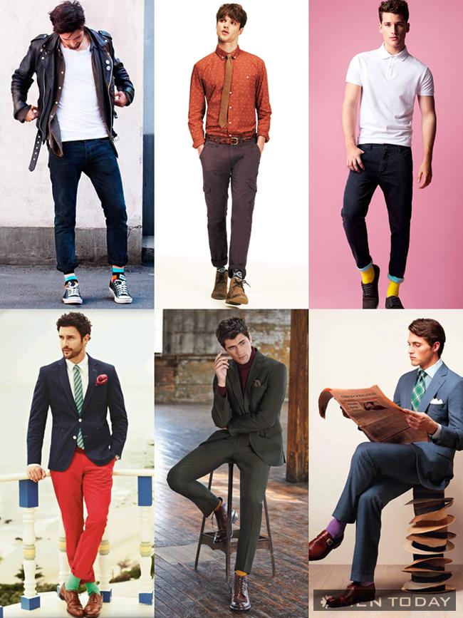 Những đôi tất màu sắc sôi động giúp các chàng thêm nổi bật