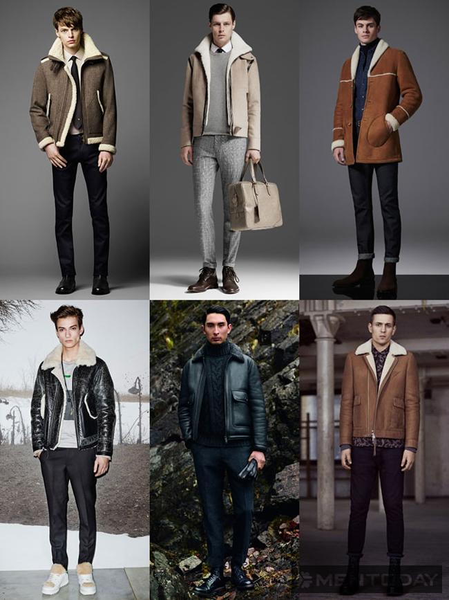 Áo khoác cổ lông cho nam thu đông 2015