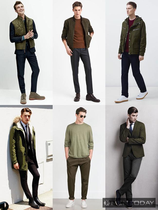 Tông màu xanh lá cho nam mùa thời trang 2015