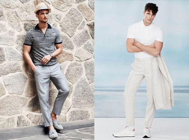 Cặp đôi áo polo và quần âu